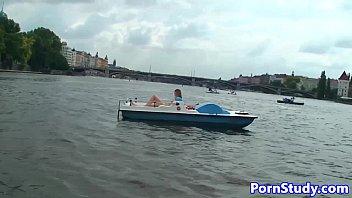 Public nude fetish eurobabe rides waterbike