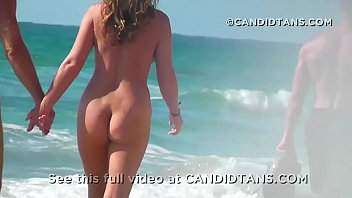 Milf mom fully naked on the beach in public showing her smooth pussy!