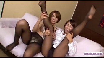 Asian Girl In Pantyhose Rubbing Other Girl Tits With Legs Kissing Getting Her To