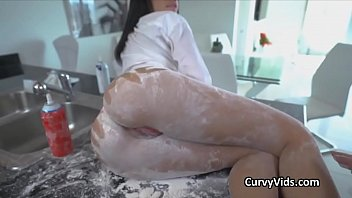 Curvy big tit Latina gets dirty in kitchen