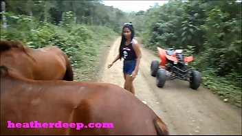 Heather Deep 4 wheeling on scary fast quad and Peeing next to horses in the jungle