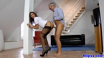 Euro nurse doggystyled by horny old man