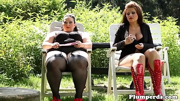 Chubby duo dominating guy outdoors