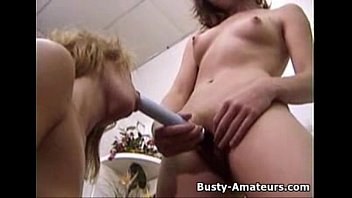 Busty amateur Kira and Holly playing dildo
