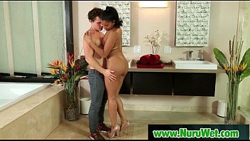 nuru rubdown with buxom chinese and xxx penetrating.