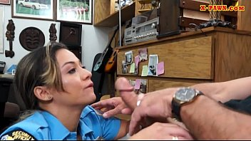 Busty latin officer banged by pawn dude
