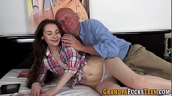 Teen babe rides grandpa