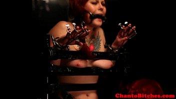 lesbian domination dominatrix confines ball-gagged gimp