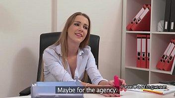 Hot chestnut lesbian agent licks model