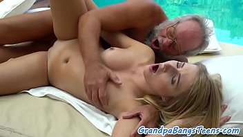 Teen masseuse fucked outdoors by grandpa