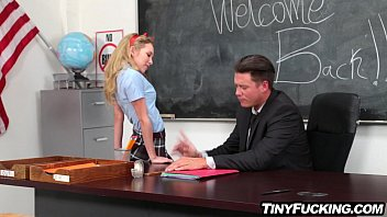 diminutive silver-blonde college girl entices her professor humps.