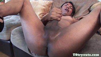 Glam latina tgirl jerking off at sex casting
