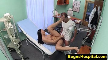 Busty babe pussylicked by her dr