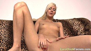 Blonde Teen newbie Sandra in POV sucking